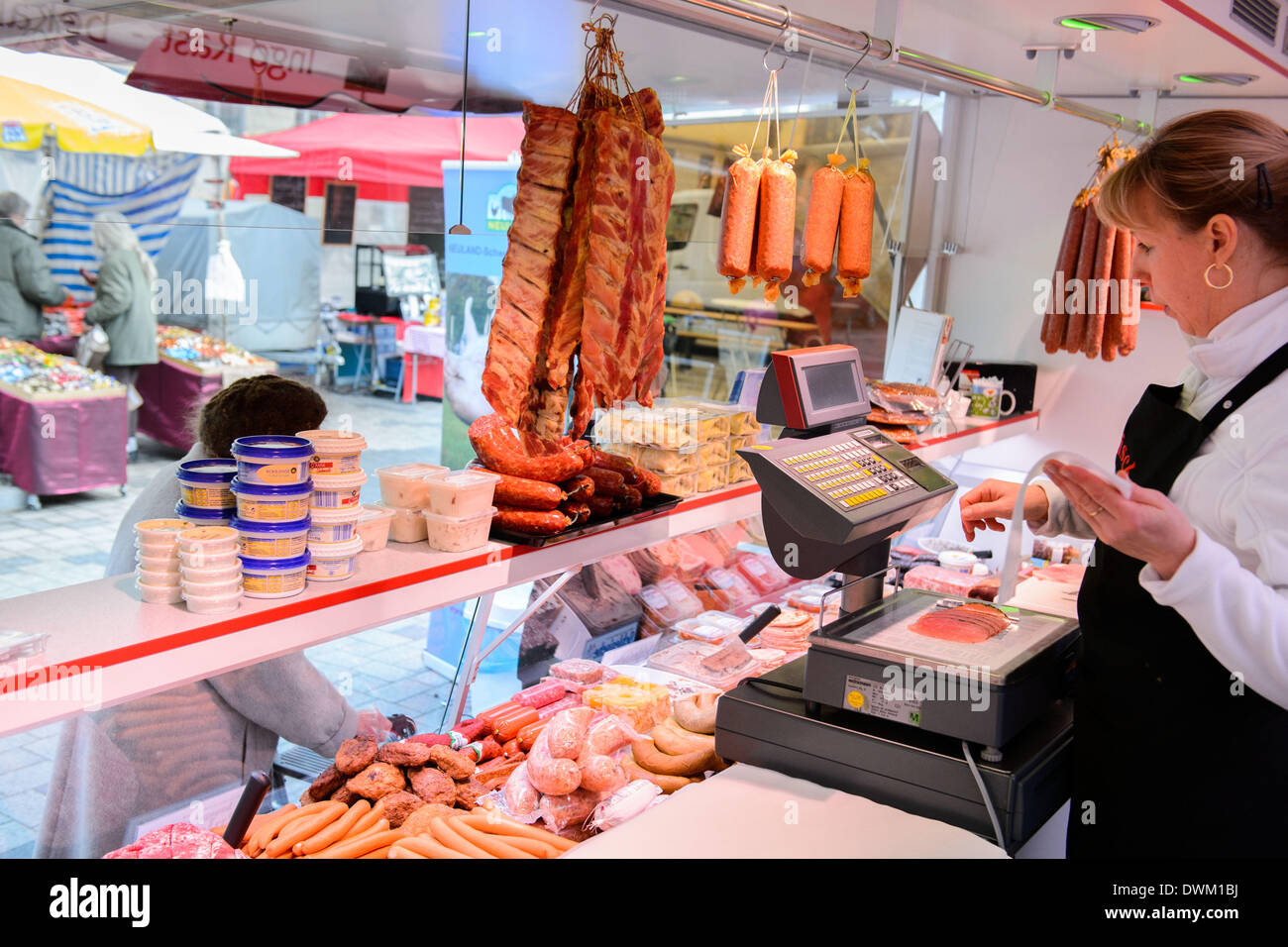 Berlin, Germany. 28th Feb, 2014. The mobile butcher shop of butcher Ingo Rast on February 28, 2014 in Berlin, Germany. Photo: picture alliance/Robert Schlesinger/dpa/Alamy Live News - Stock Image