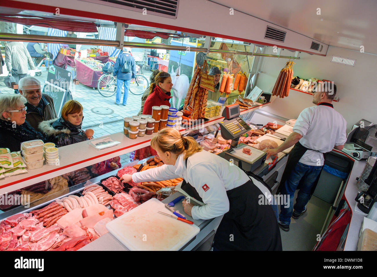 berlin germany 28th feb 2014 the mobile butcher shop of butcher stock photo 67437700 alamy. Black Bedroom Furniture Sets. Home Design Ideas