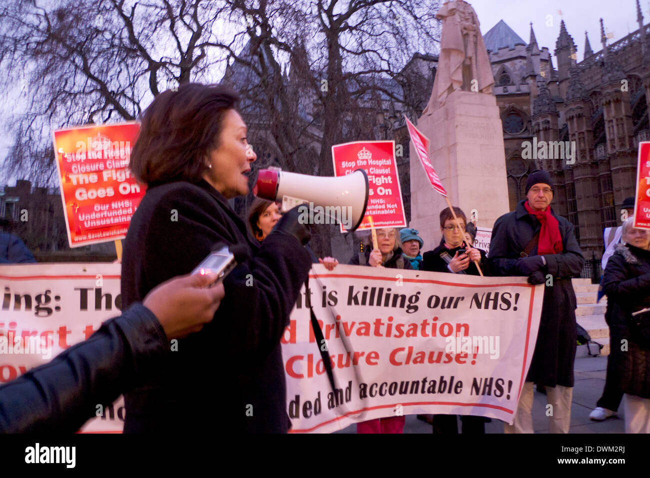 Westminster, London UK. Monday 10th March 2014.  Joan Ruddock Labour MP for Lewisham Deptford addresses NHS Hospital Closure Clause 119 protesters the evening before MP's Vote.  Demonstrations continue today on 11th March on College Green opposite St. Stephen's Gate.  KATHY DEWITT/ALamy Live News - Stock Image