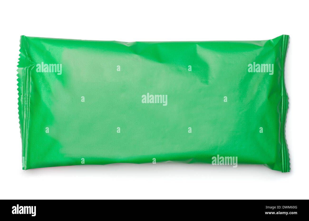 Green food package bag isolated on white - Stock Image