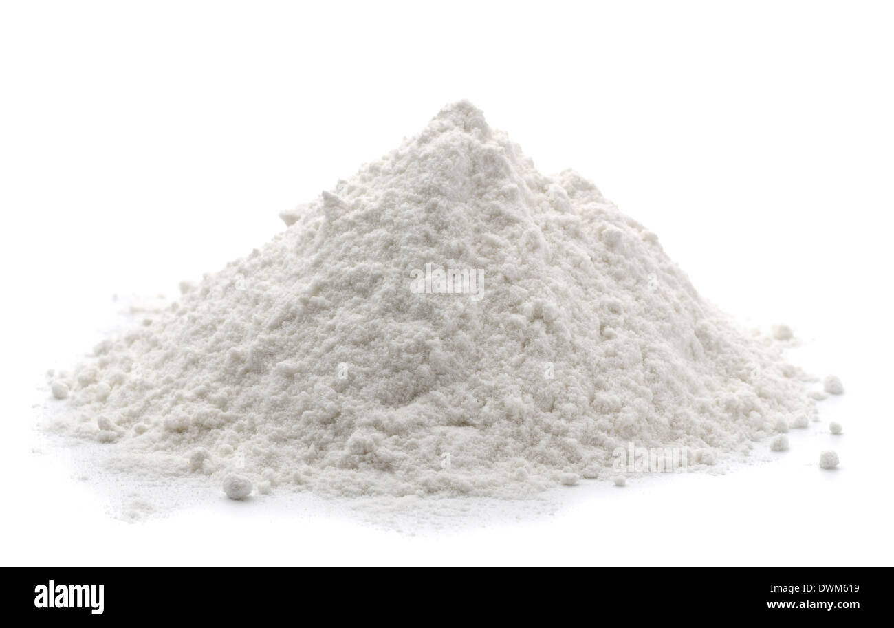 Pile of wheat flour isolated on white Stock Photo