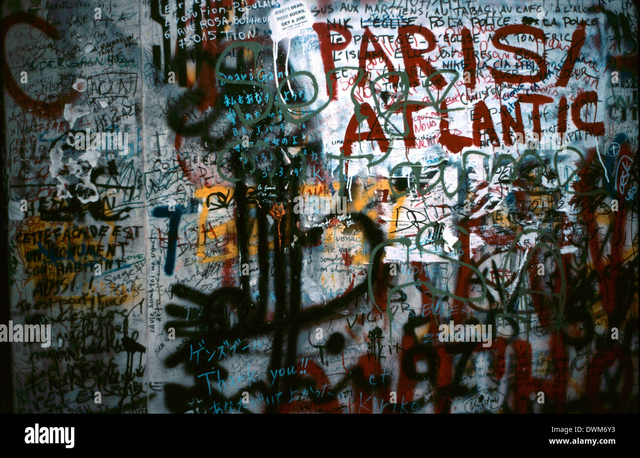 PARIS, FRANCE. Graffitti messages on the wall and door outside the Serge Gainsbourg residence.  Photo:Jonathan Eastland/AJAX - Stock Image