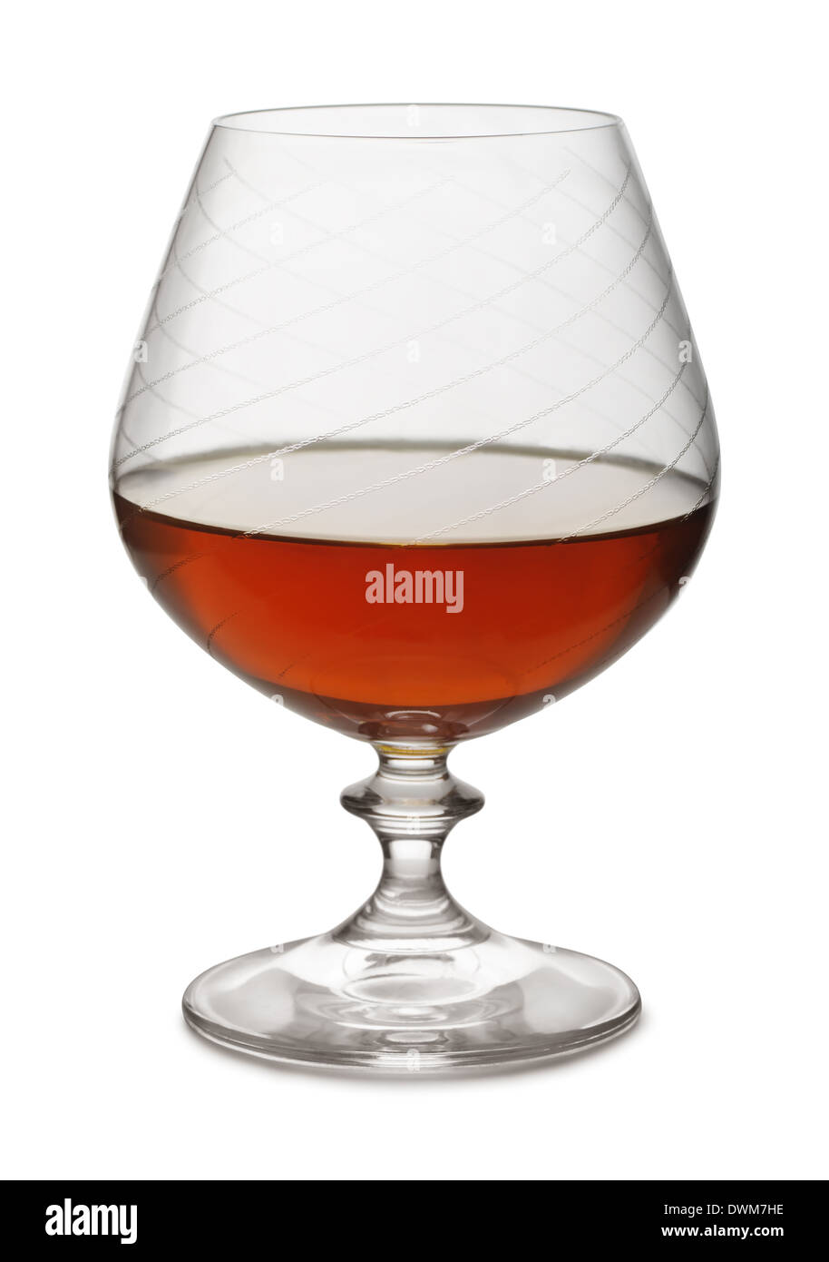 Snifter of aged brandy isolated on white Stock Photo