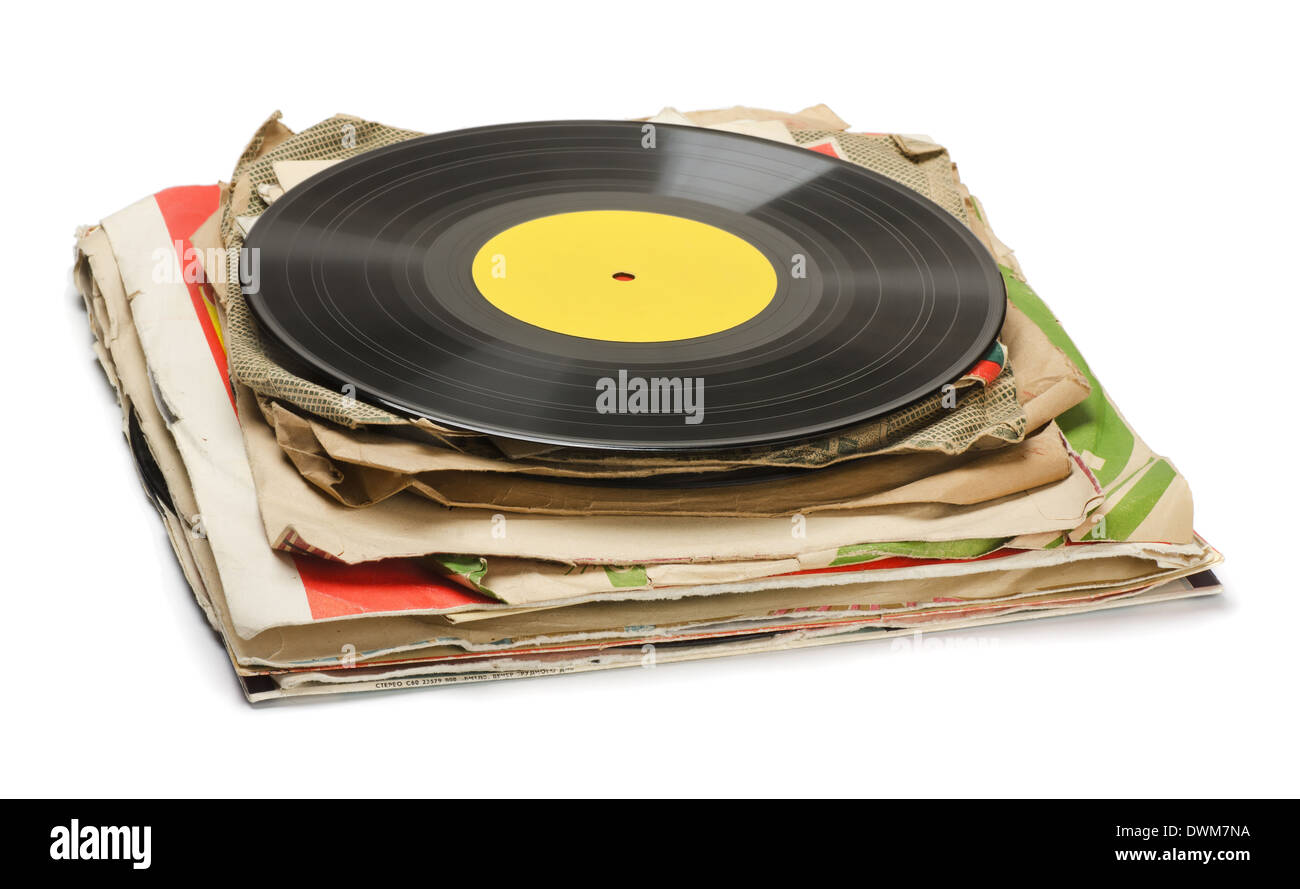 Stack of old vinyl records isolated on white - Stock Image