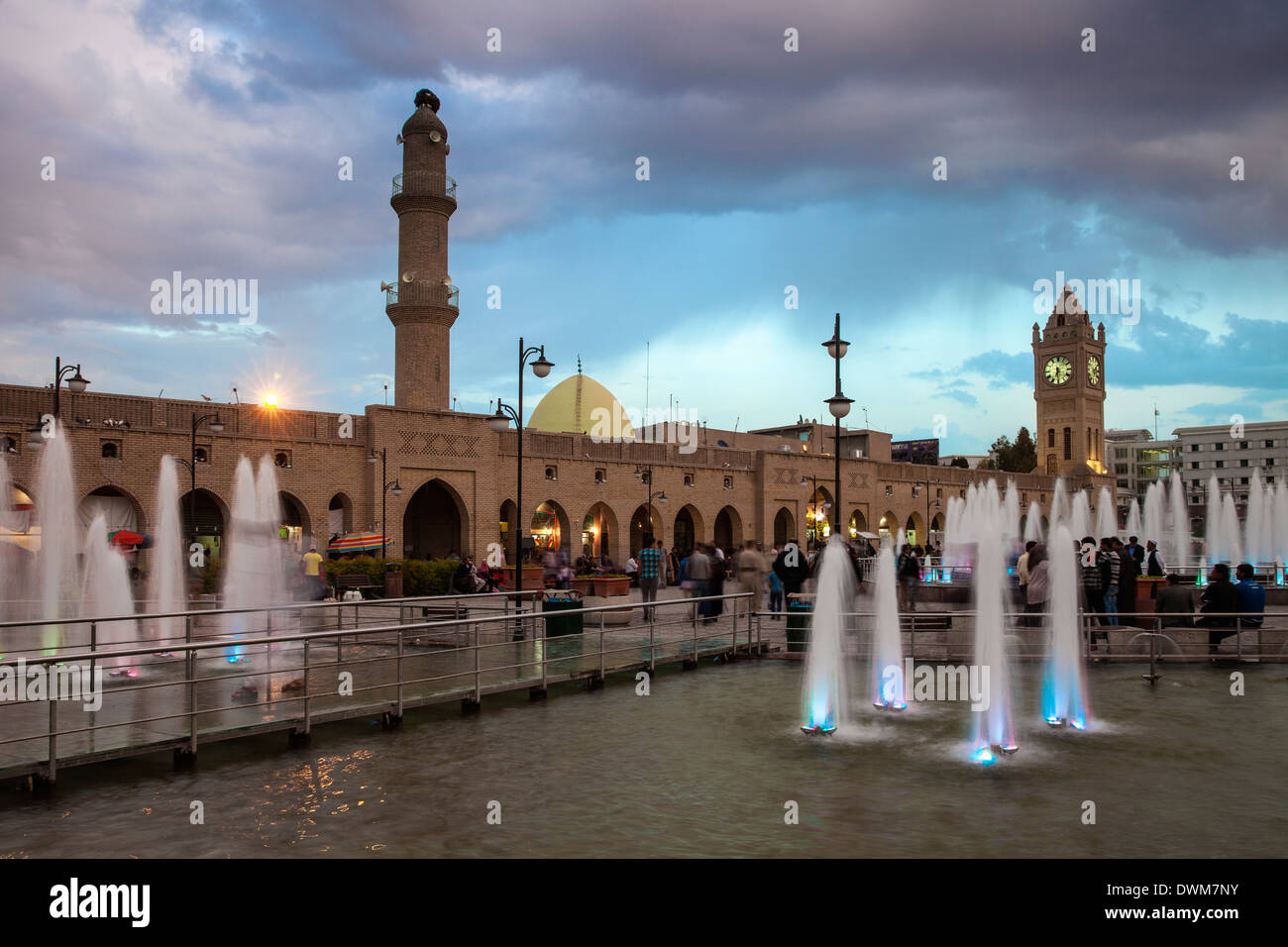 Shar Park, Clock tower and Qaysari Bazaars, Erbil, Kurdistan, Iraq, Middle East - Stock Image