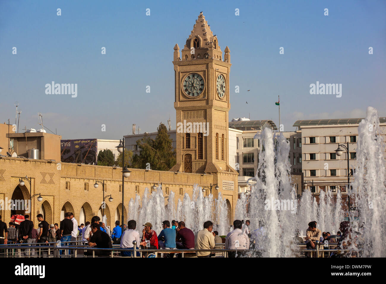 Clock tower in Shar Park, Erbil, Kurdistan, Iraq, Middle East - Stock Image