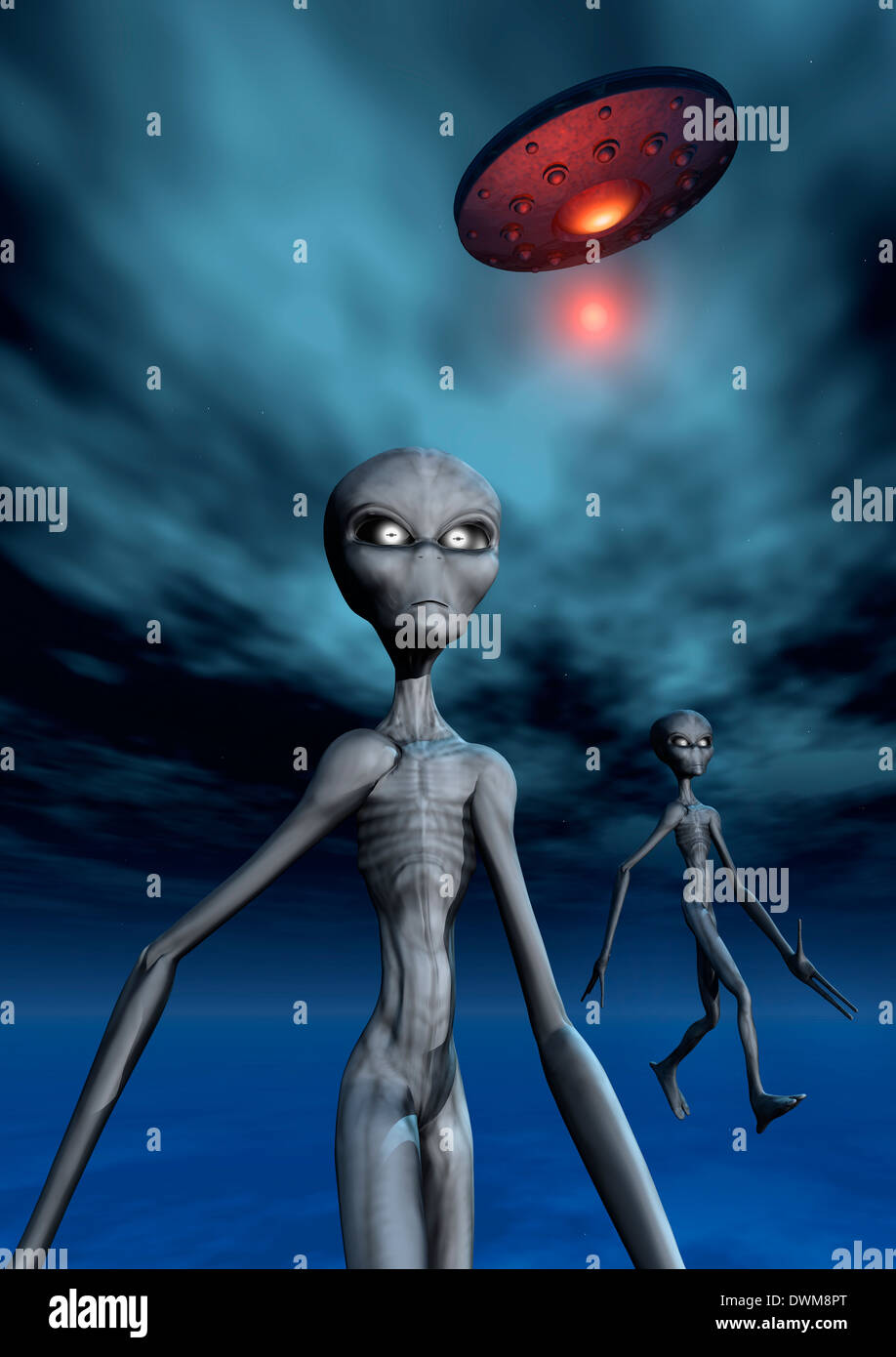 Grey Aliens & Their Flying Saucer. - Stock Image