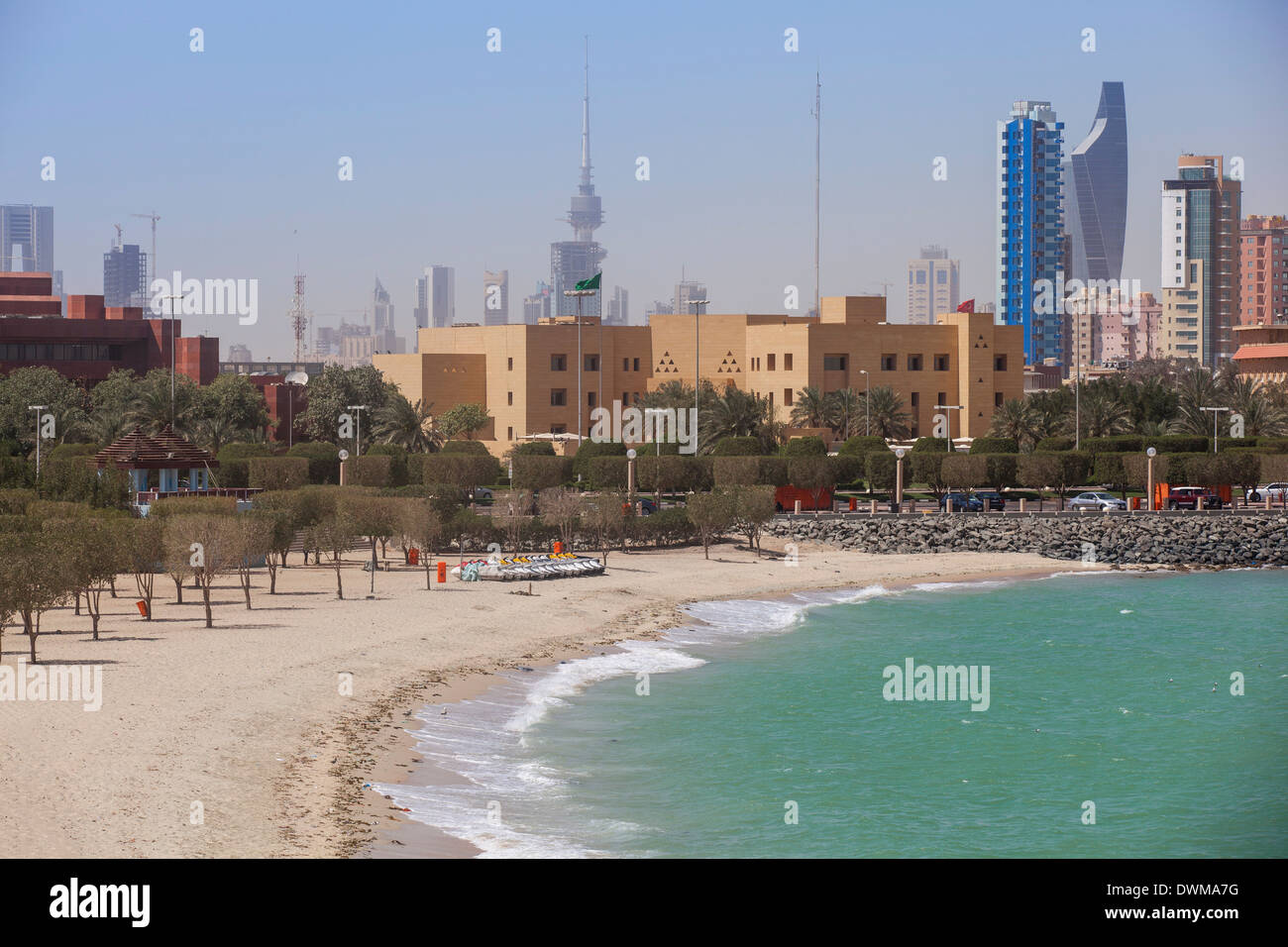 Arabian Gulf and city skyline, Salmiya, Kuwait City, Kuwait, Middle East - Stock Image