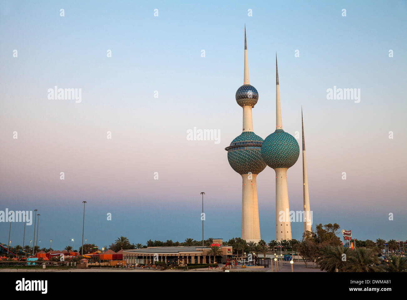 Kuwait Towers at dawn, Kuwait City, Kuwait, Middle East - Stock Image