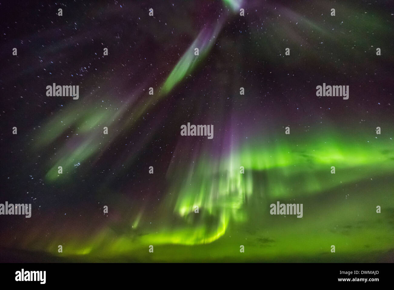Aurora borealis (Northern Lights) above the Lindblad Expeditions ship in Hudson Strait, Nunavut, Canada - Stock Image