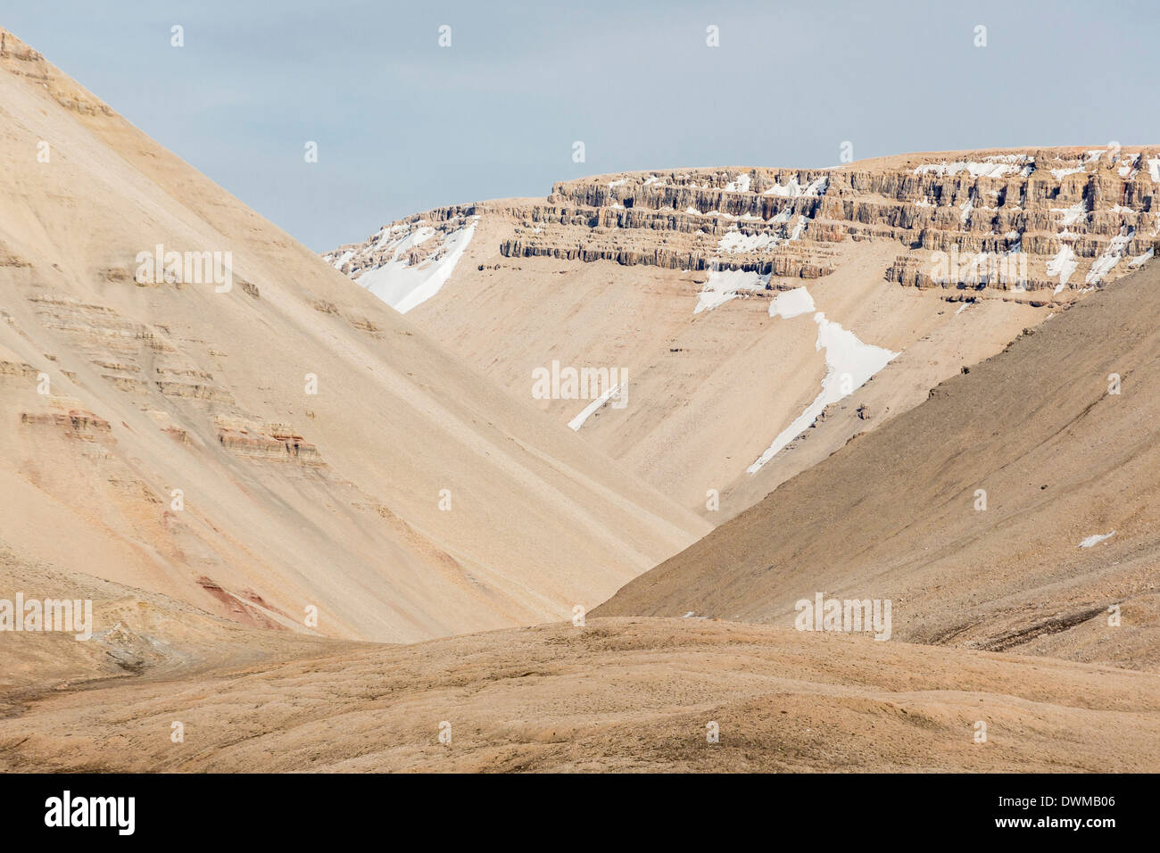 View of sedimentary layers from Cape Hay, Bylot Island, Nunavut, Canada, North America - Stock Image