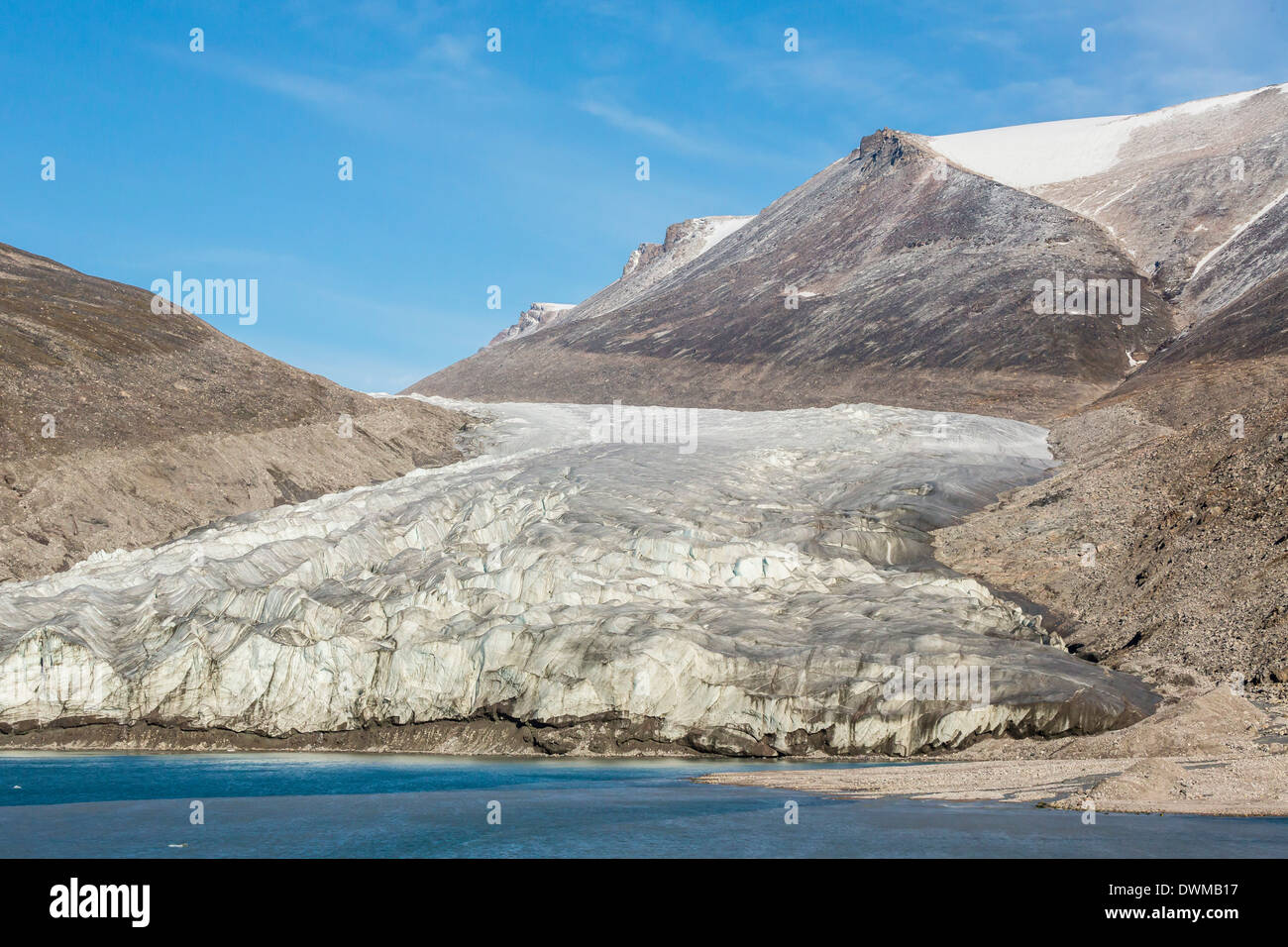Snow-capped peaks and glaciers in Icy Arm, Baffin Island, Nunavut, Canada, North America - Stock Image