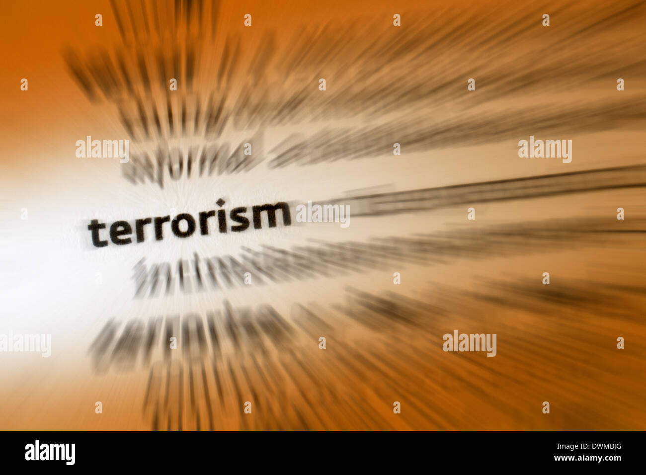 Terrorism is the use of violence and intimidation in the pursuit of political aims. - Stock Image