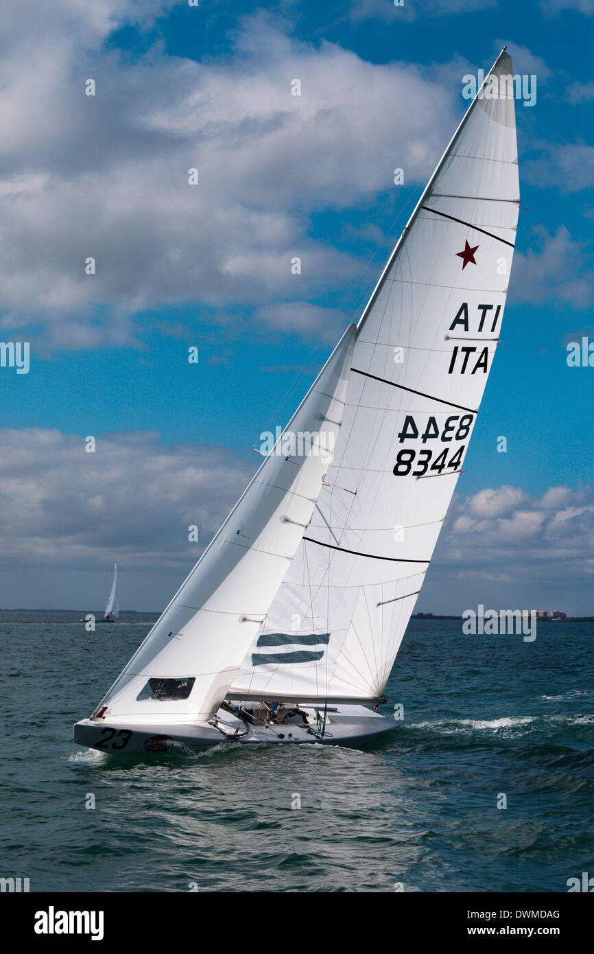 International Star Class racing yachts during the Bacardi Cup 2009 Biscayne Bay Florida - Stock Image