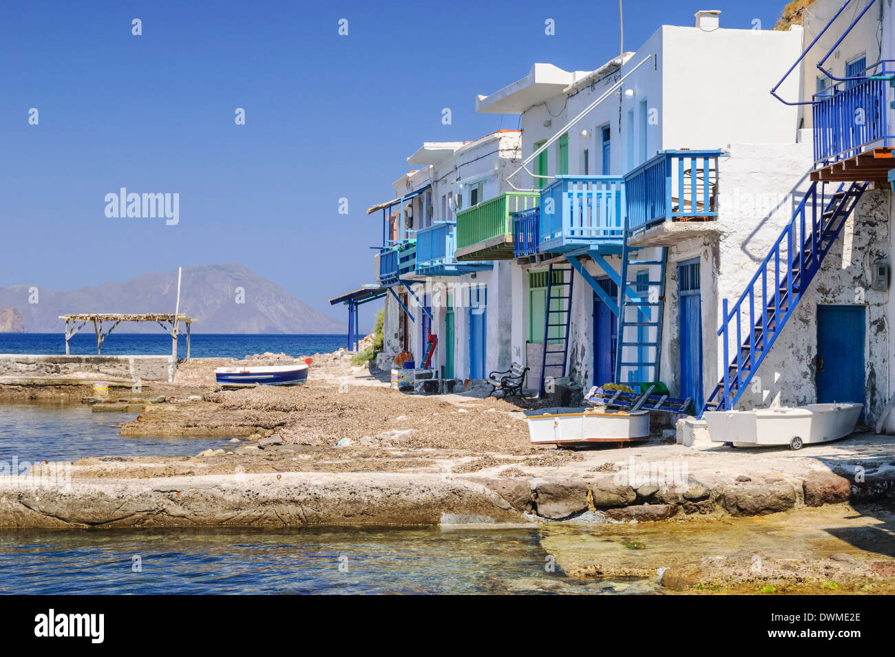 Colourful Syrmata in the fisherman's village of Klima on Milos Island, Cyclades, Greece - Stock Image