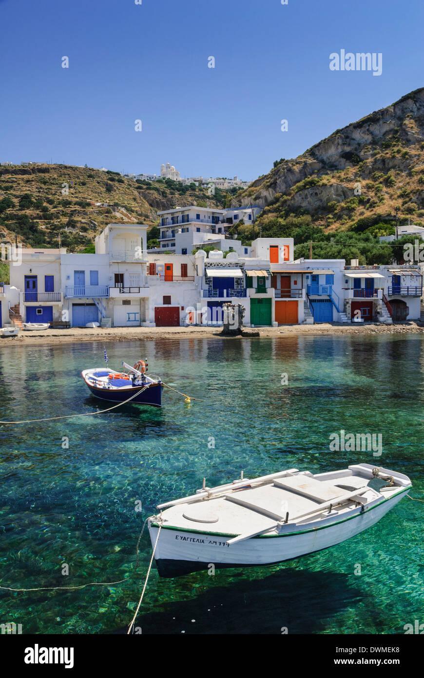 Syrmata houses in the seaside village of Klima, Milos Island, Cyclades, Greece - Stock Image