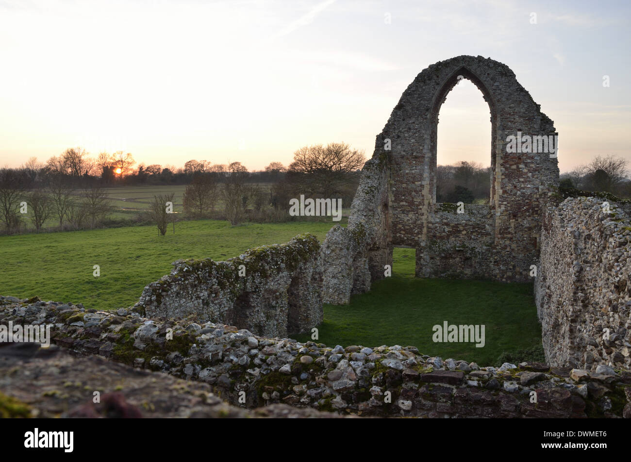 Leiston Abbey at Sunset - Stock Image