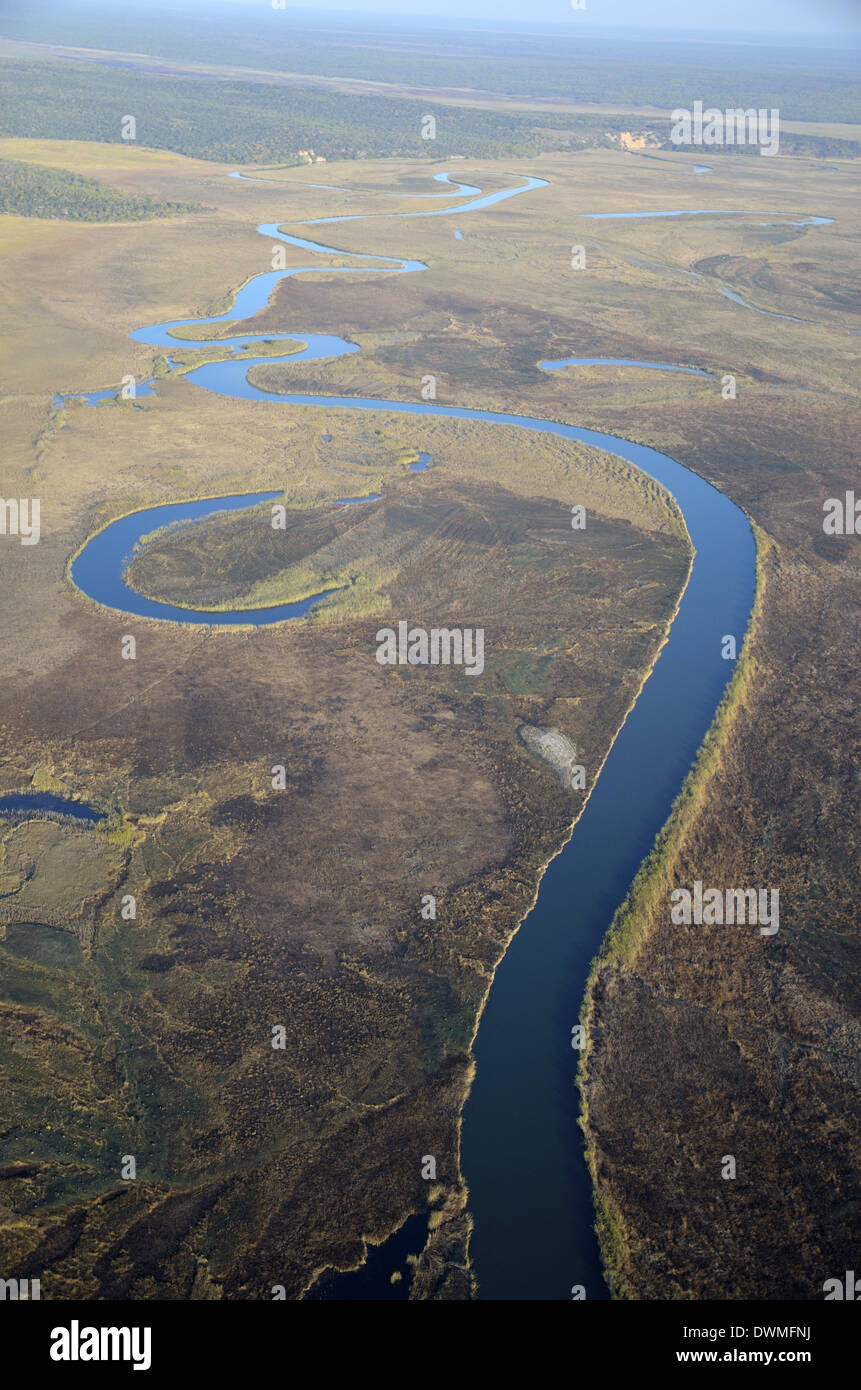 Aerial photo of River Cuito, Cuito Cuanavale, Angola - Stock Image