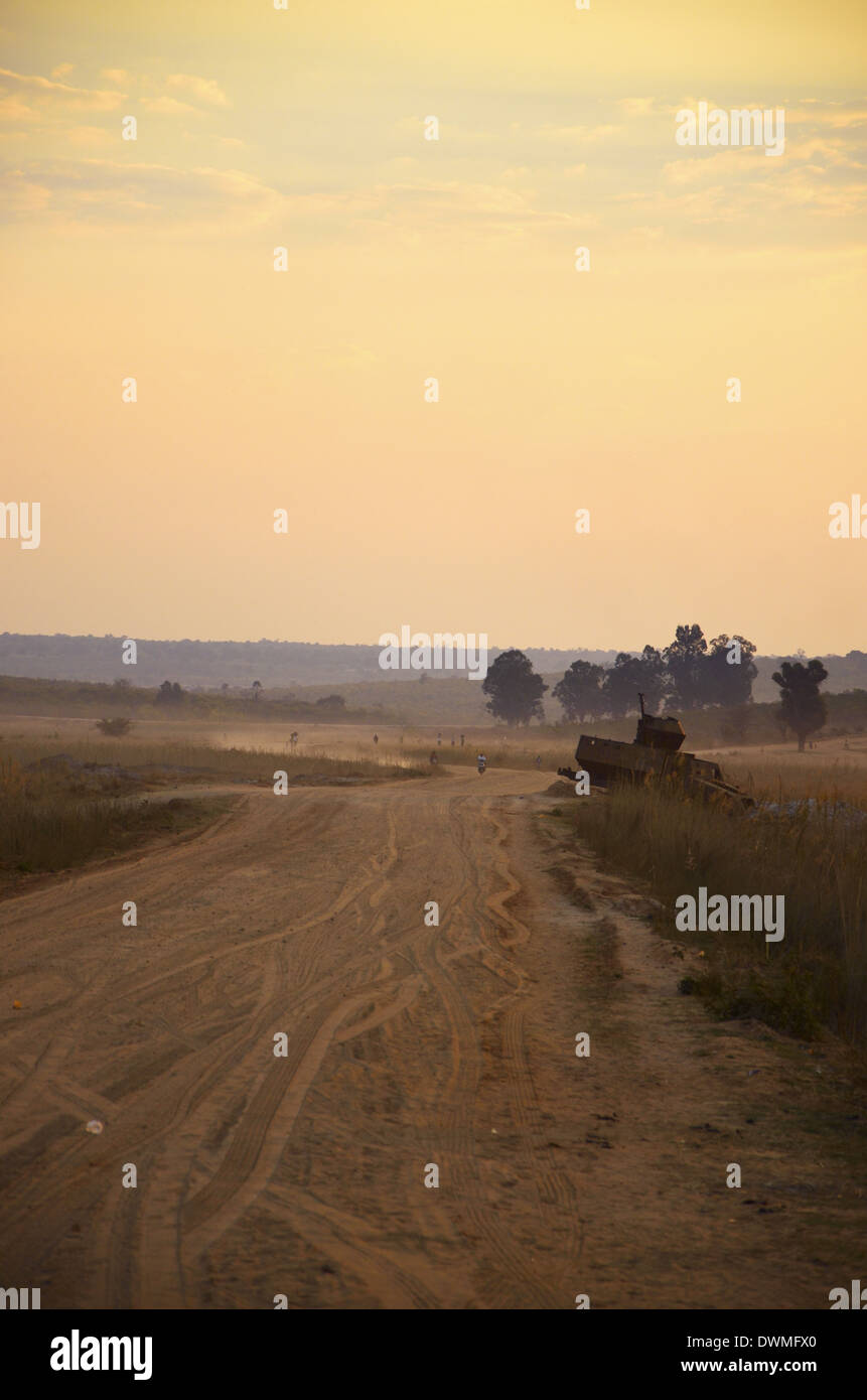 Abandoned Tank on roadside, Cuito Cuanavale, Angola, Africa. - Stock Image