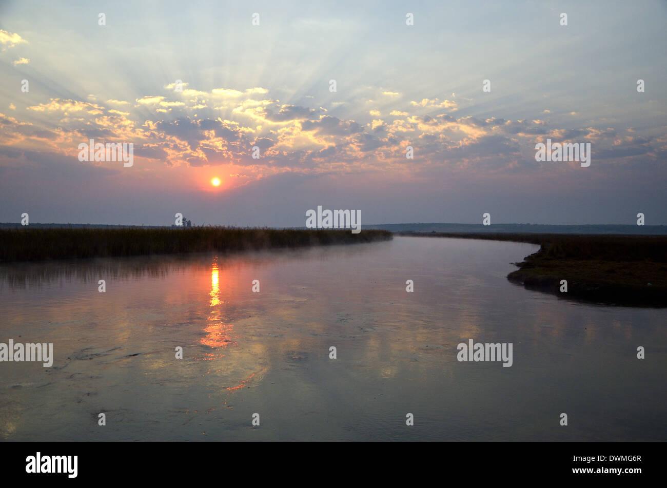 Sunrise over River, Cuito Cuanavale. Angola. Stock Photo