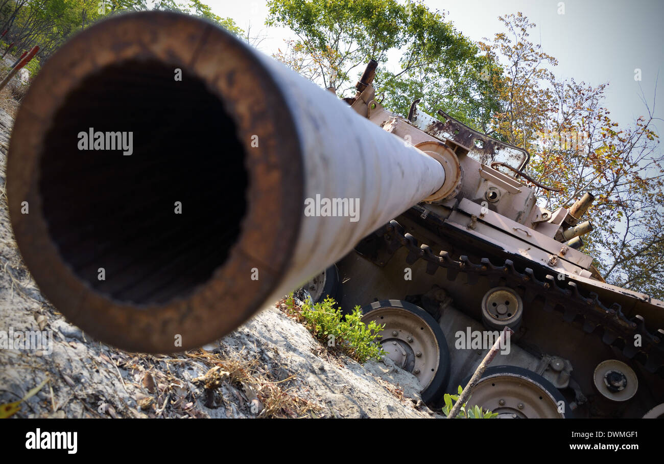 Destroyed tank, Cuito Cuanavale, Angola. - Stock Image