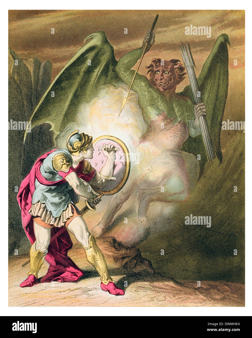 pollyon in a rage falls upon Christian - Stock Image