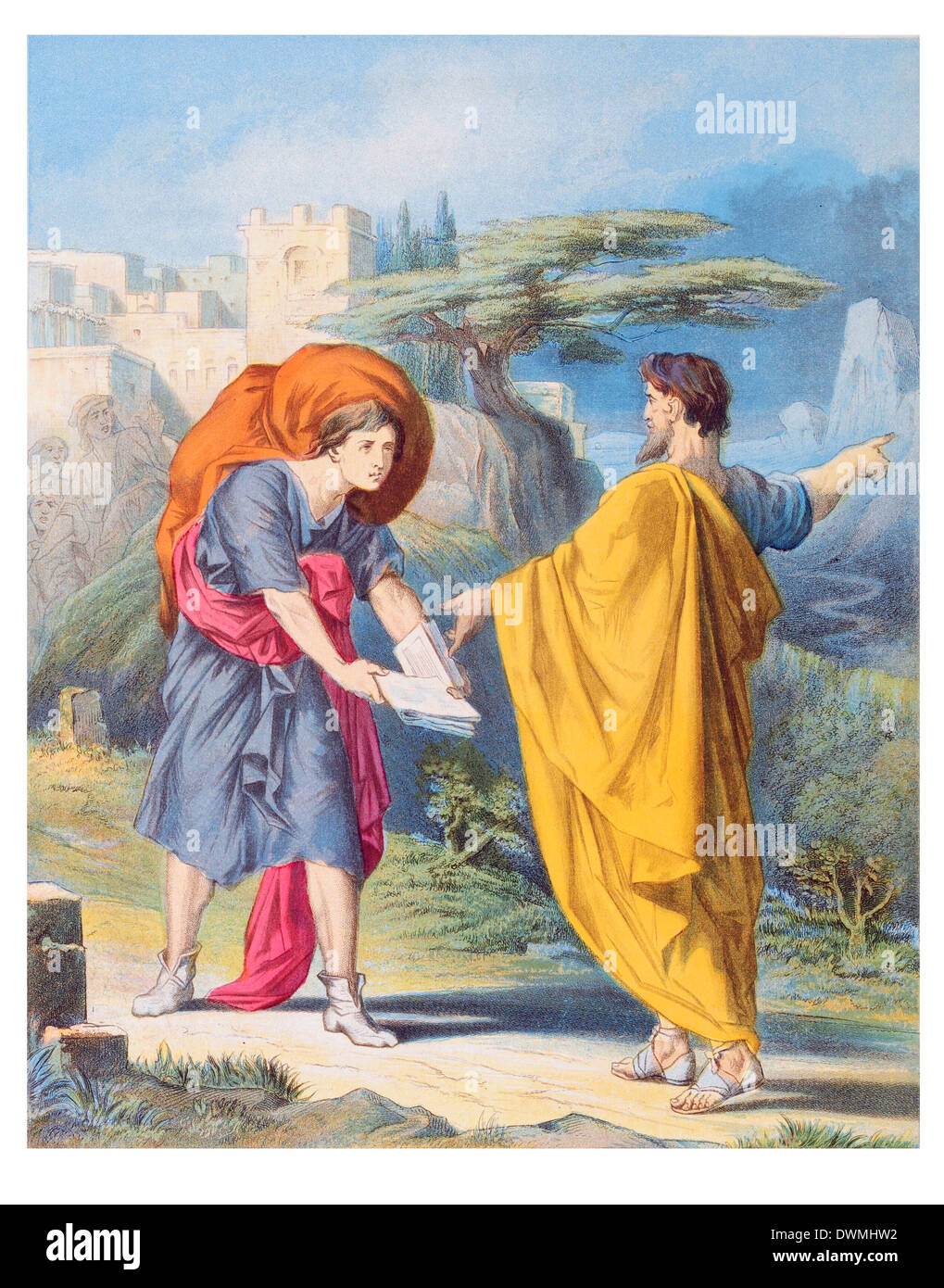 Evangelist directing Christian to Flee from the wrath to come - Stock Image