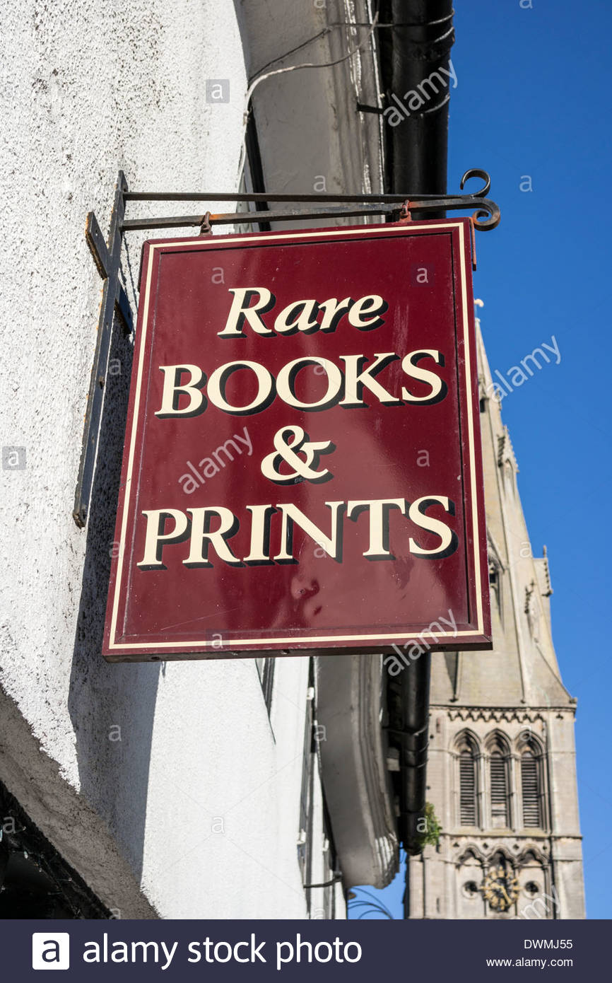 Secondhand Book Store - Rare Books and Prints Sign - Stock Image
