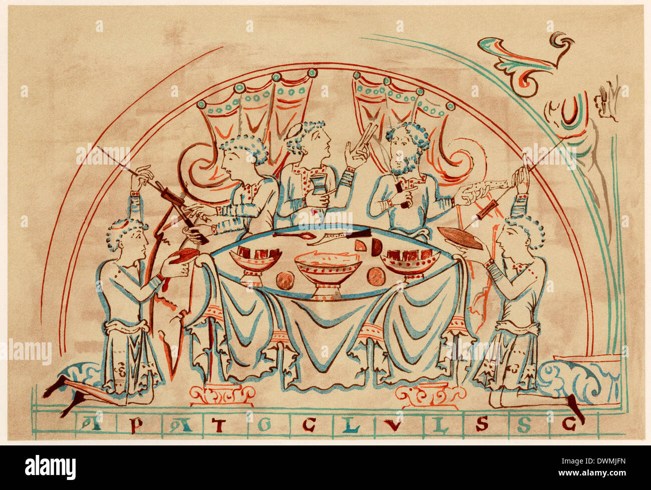 Medieval banquet, 11th century. Printed color lithograph - Stock Image