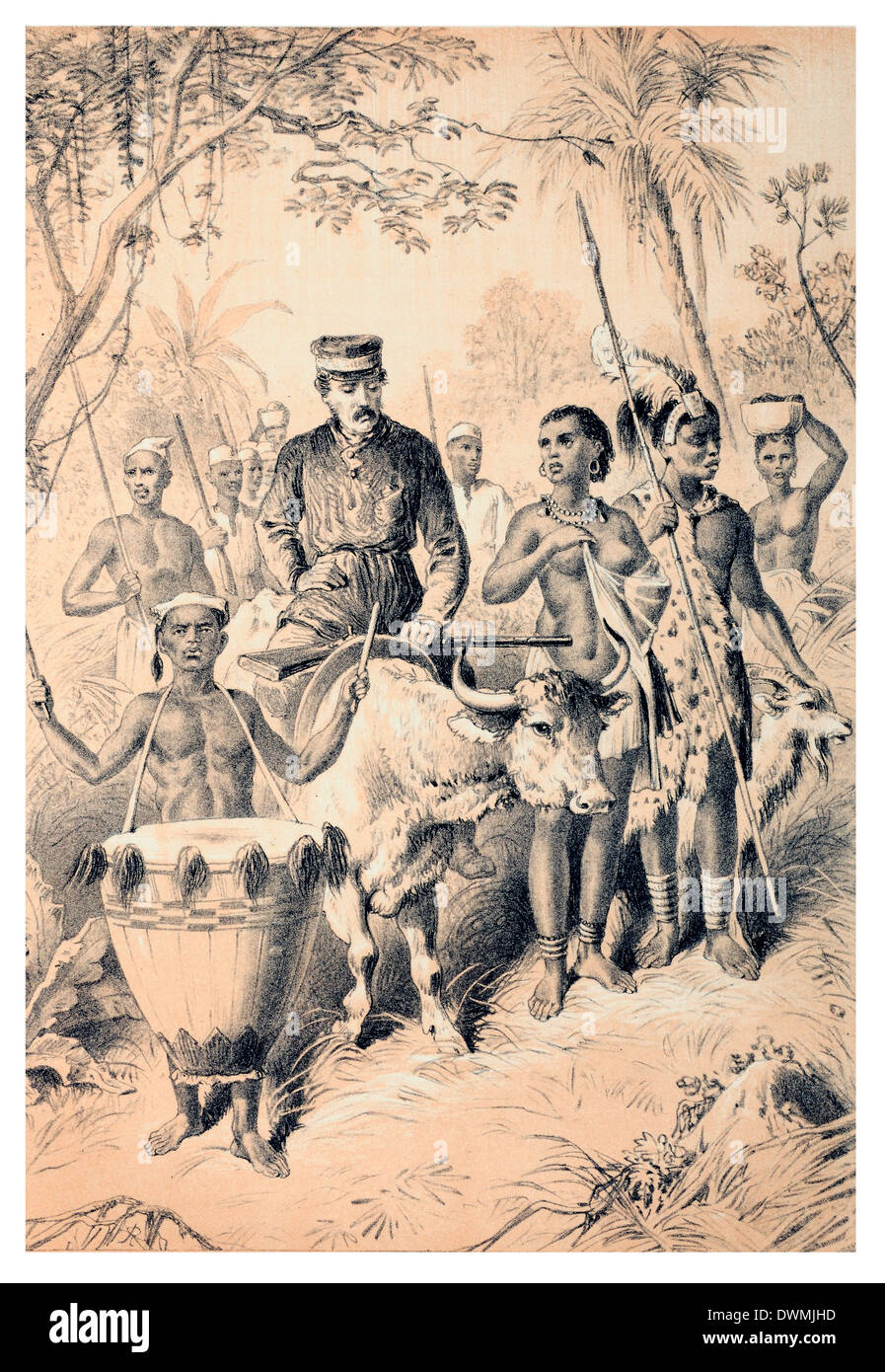 Livingstone weak from fever escorted to Shinte's Town - Stock Image