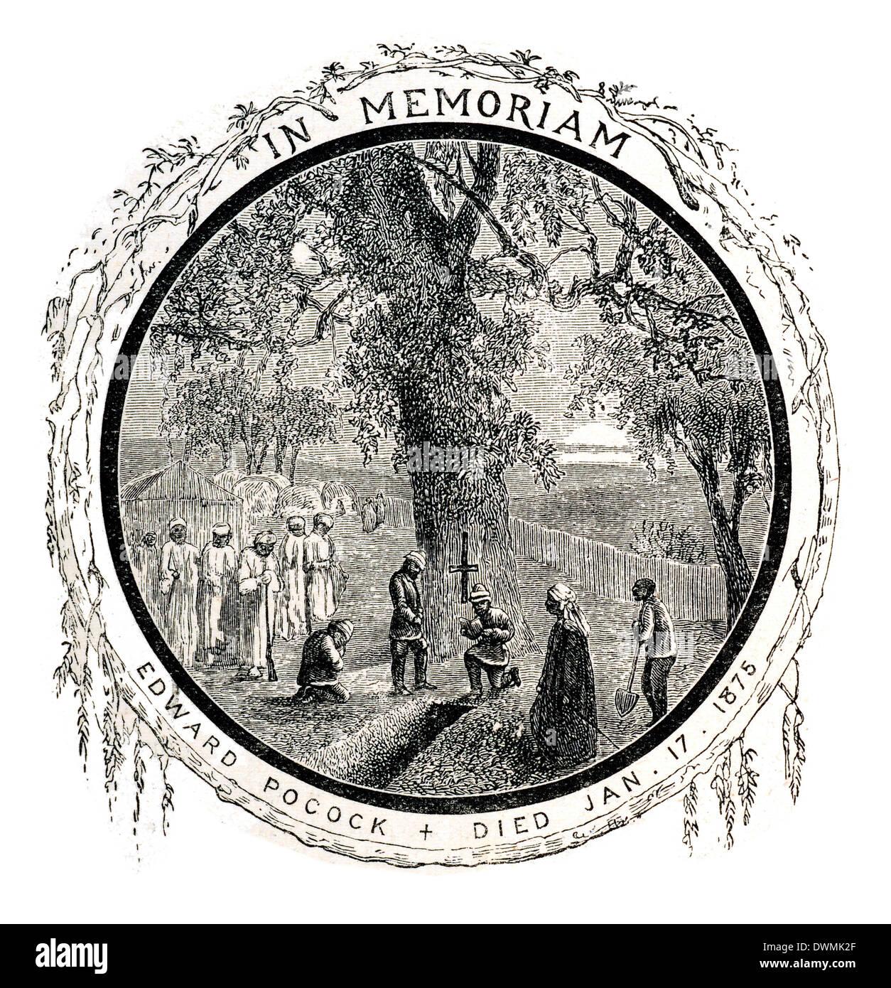 In Memorium Edward Pocock died Jan 17 1875 - Stock Image
