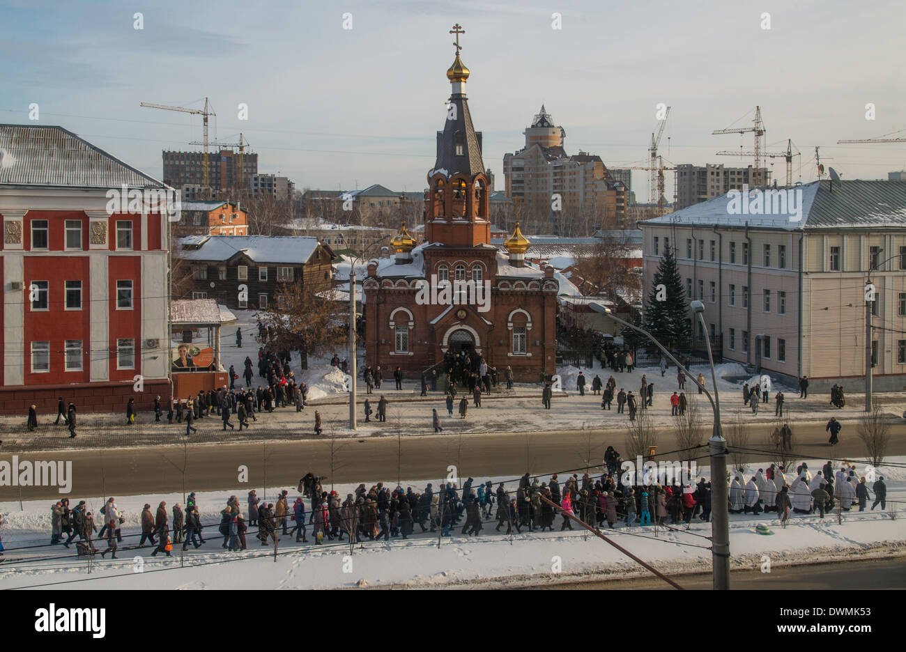 Religious procession on Lenins Prospekt. Epiphany Day. 01/19/2014  St. Nicholas Church Barnaul. Russia - Stock Image
