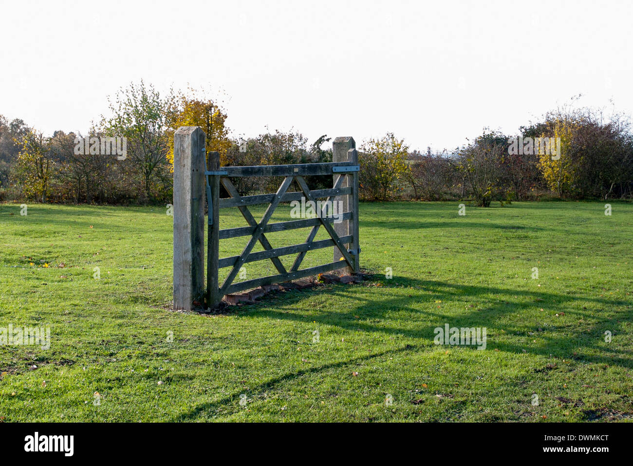 A five-bar gate stands on a green field. There is no fencing attached. - Stock Image