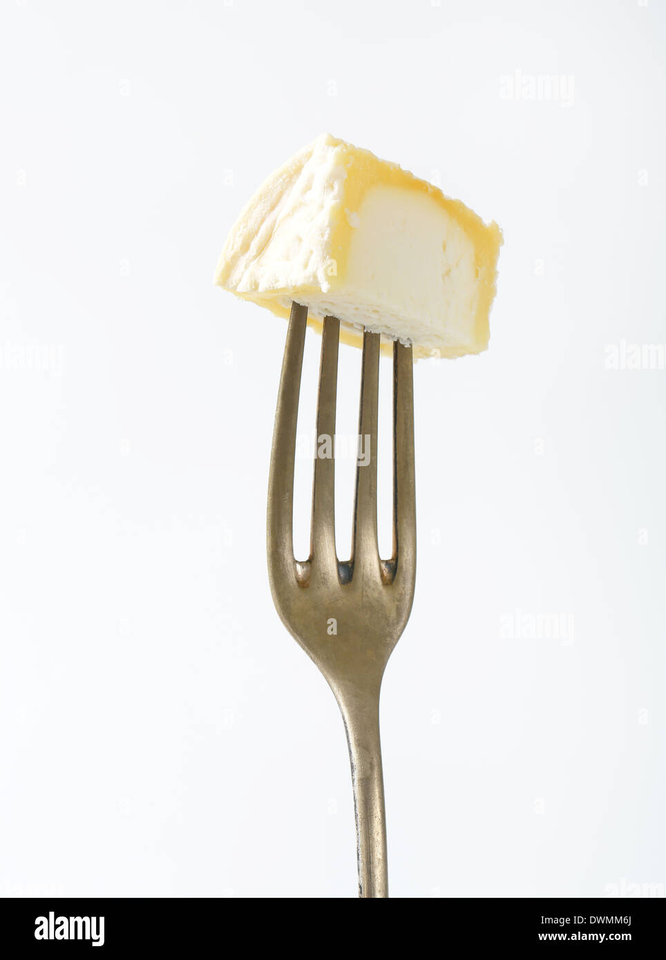 Piece of Chevre cheese on fork - Stock Image