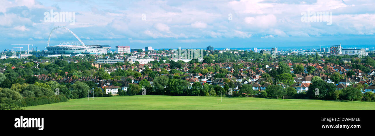 London skyline showing Wembley Stadium, London, England, United Kingdom, Europe - Stock Image
