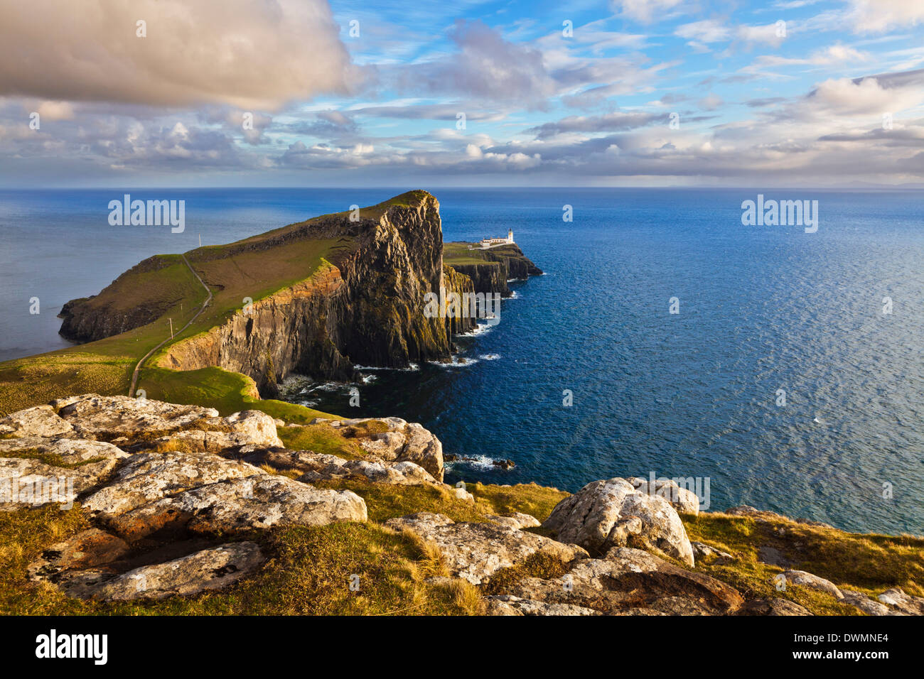 Neist Point and Lighthouse, Isle of Skye, Inner Hebrides, Highland and Islands, Scotland, United Kingdom, Europe - Stock Image