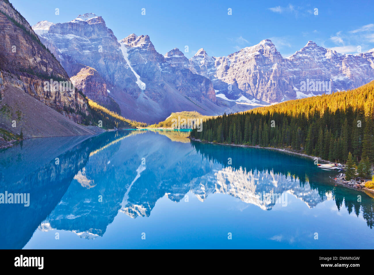 Moraine Lake reflections in the Valley of the Ten Peaks, Banff National Park, UNESCO Site, Alberta, Canadian Rockies, Canada - Stock Image