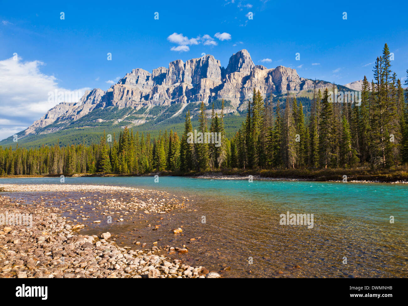 Castle Mountain behind the Bow river at Castle Junction, Banff National Park, UNESCO Site, Alberta, Canadian Rockies, Canada - Stock Image