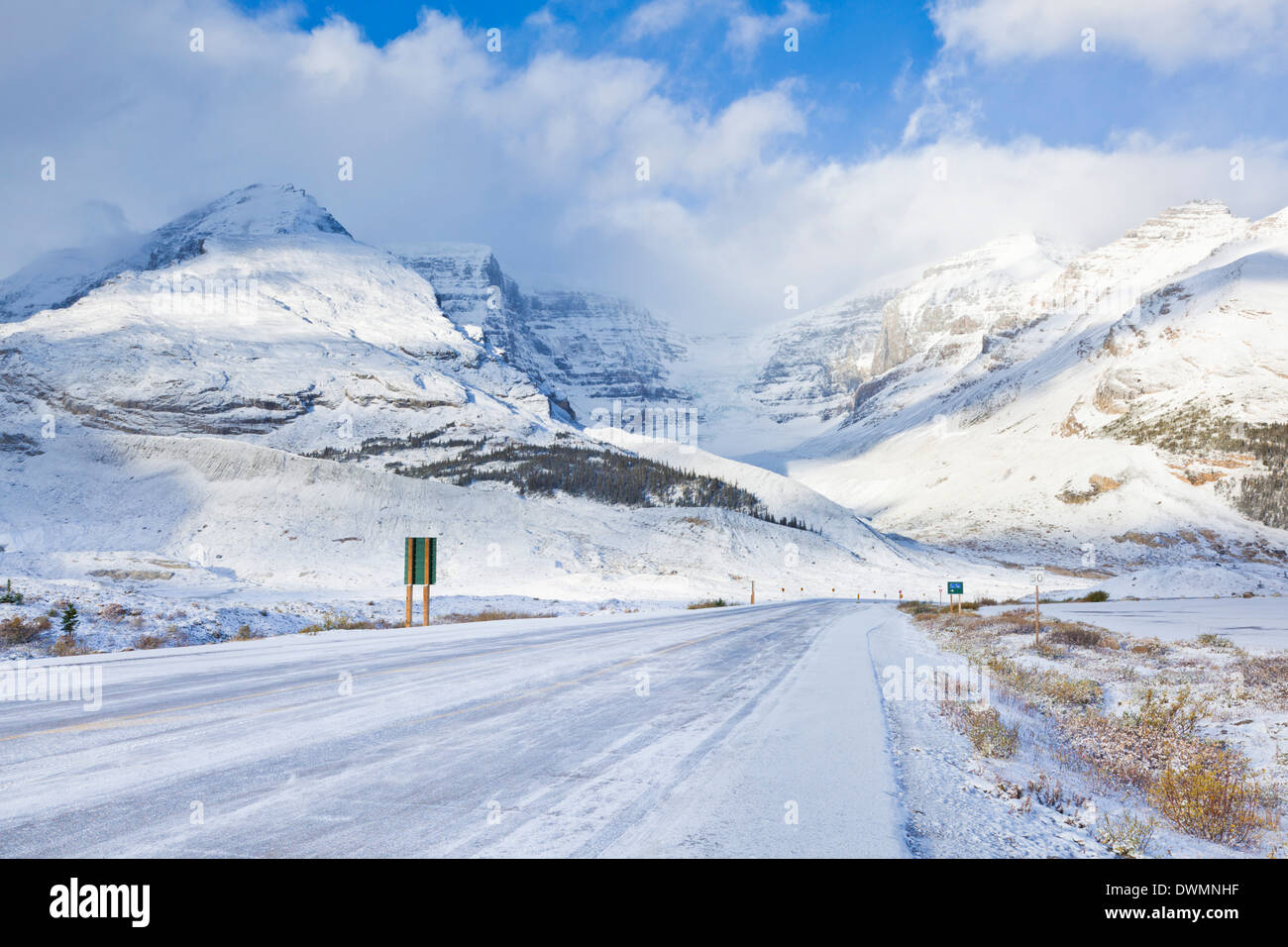 The Icefields Parkway road highway covered in ice, Jasper National Park, UNESCO Site, Alberta, Canadian Rockies, Canada - Stock Image