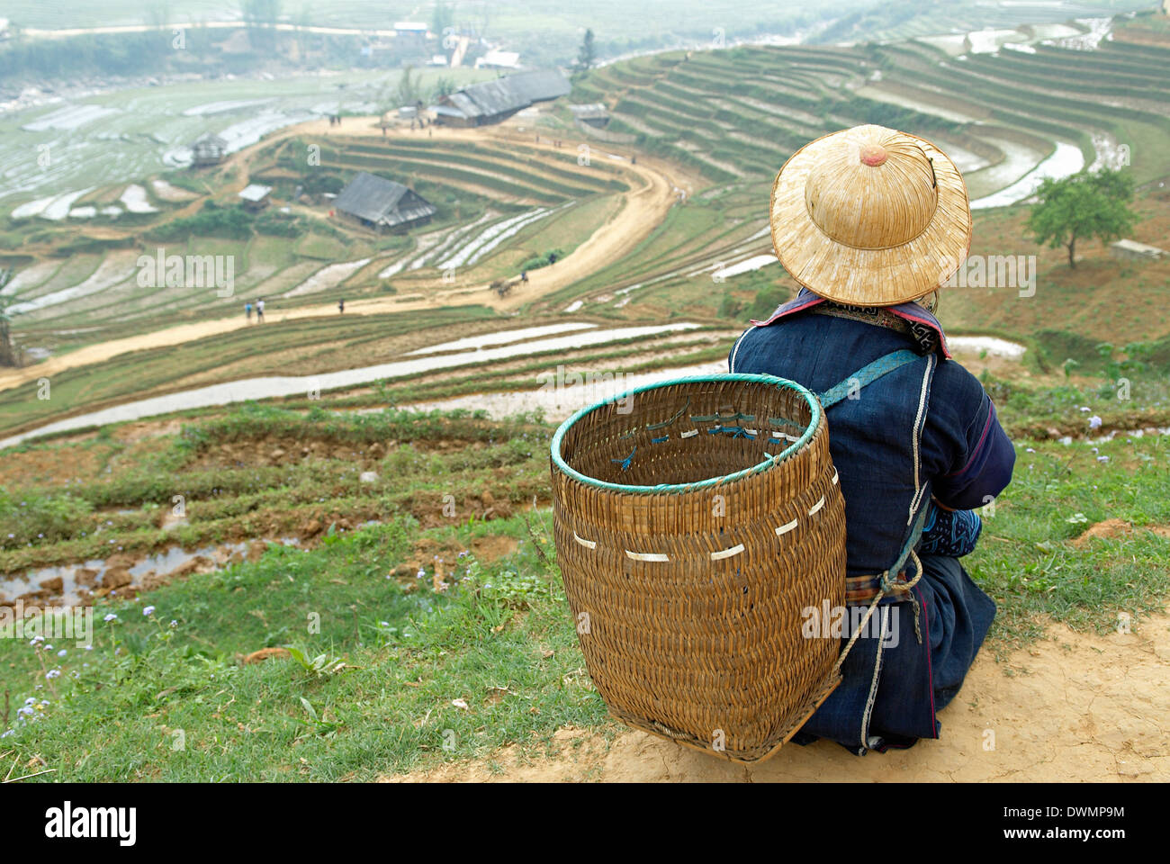 Black Hmong ethnic group and rice fields, Sapa area, Vietnam, Indochina, Southeast Asia, Asia - Stock Image