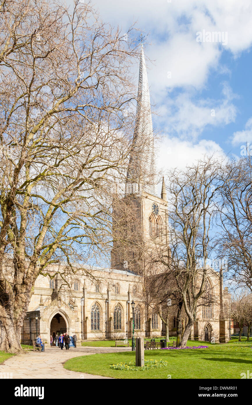 St Mary and All Saints Church with its crooked spire, Chesterfield, Derbyshire, England, UK - Stock Image