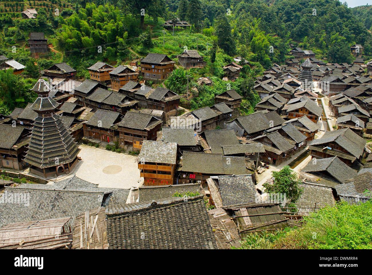 Drum Tower at Rongjiang, Guizhou Province, China, Asia Stock Photo