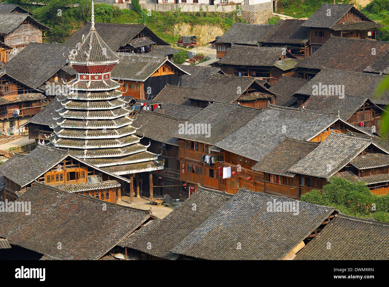 Drum Tower at Rongjiang, Guizhou Province, China, Asia Stock Photo