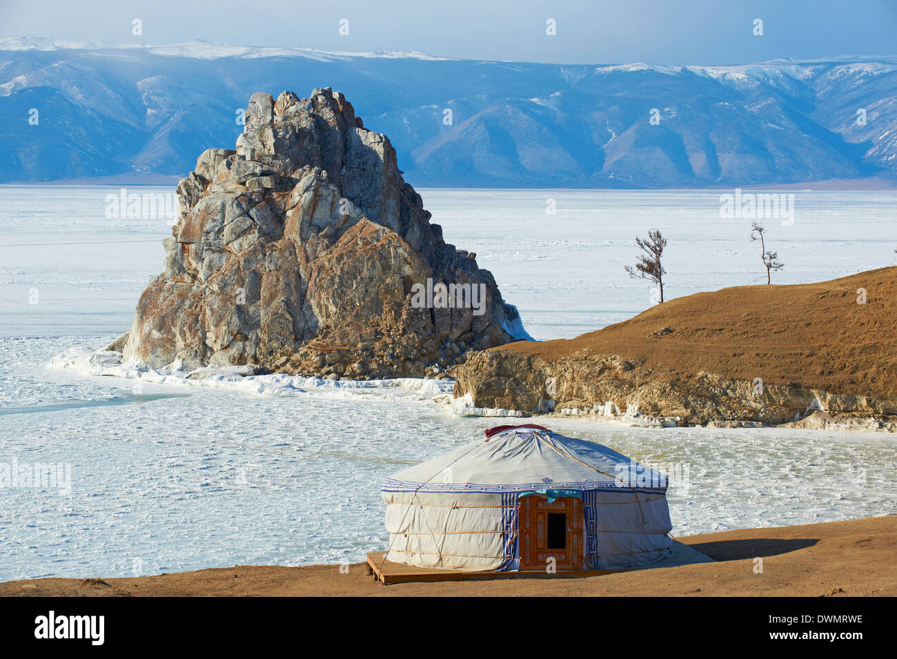 Shaman rock, Maloe More (Little Sea), Olkhon island, Lake Baikal, UNESCO Site, Irkutsk Oblast, Siberia, Russia - Stock Image