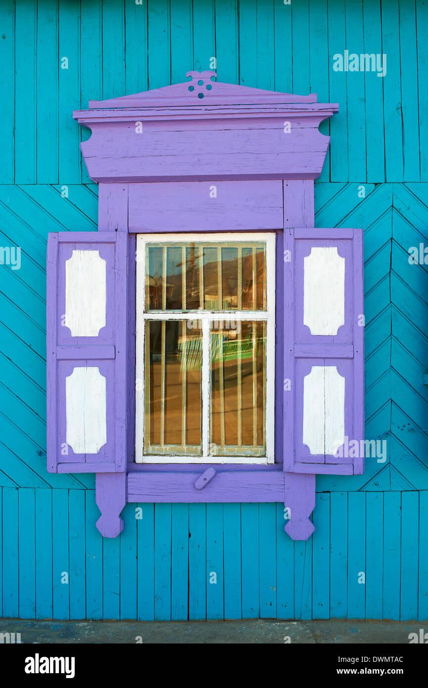 Window, Khoujir, Olkhon Island, Lake Baikal, UNESCO World Heritage Site, Irkutsk Oblast, Siberia, Russia, Eurasia - Stock Image