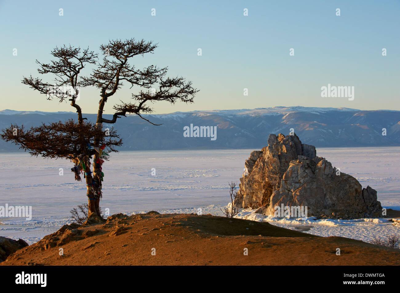 Shaman rock, Maloe More (Little Sea), Olkhon island, Lake Baikal, UNESCO Site, Irkutsk Oblast, Siberia, Russia - Stock Image
