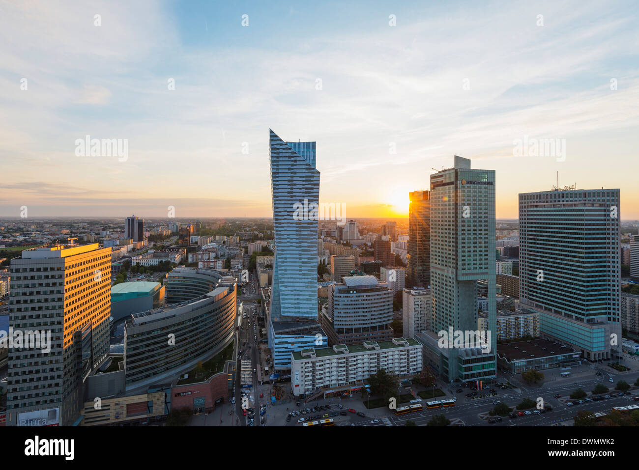 City view from Palace of Culture and Science, Warsaw, Poland, Europe Stock Photo