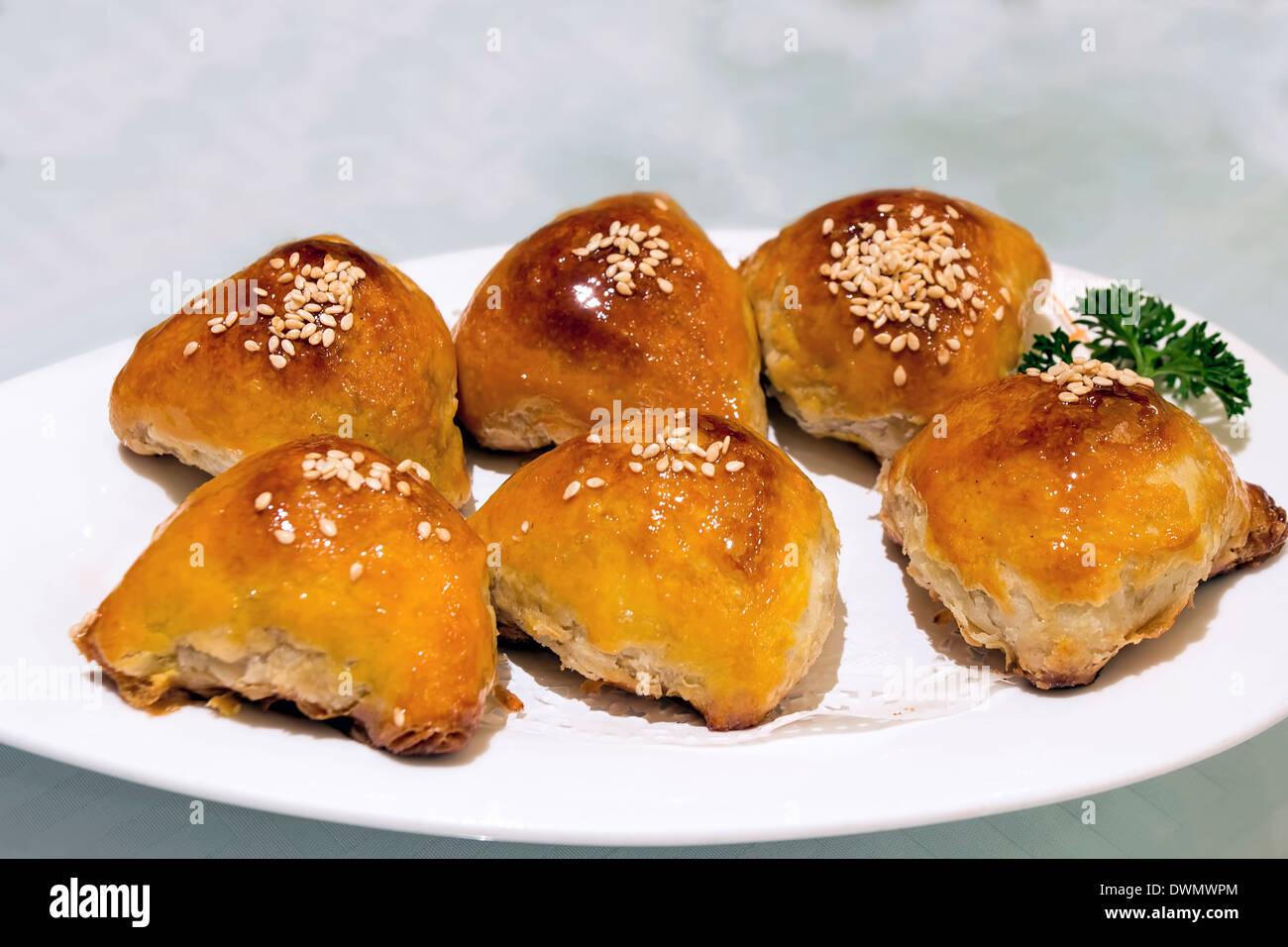 Char Siu Sou Barbecue Pork Pastry Dim Sum Dish Closeup - Stock Image