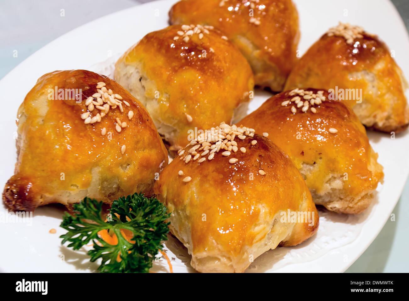 Char Siu Sou Barbecue Pork Pastry Dim Sum Dish Closeup macro - Stock Image