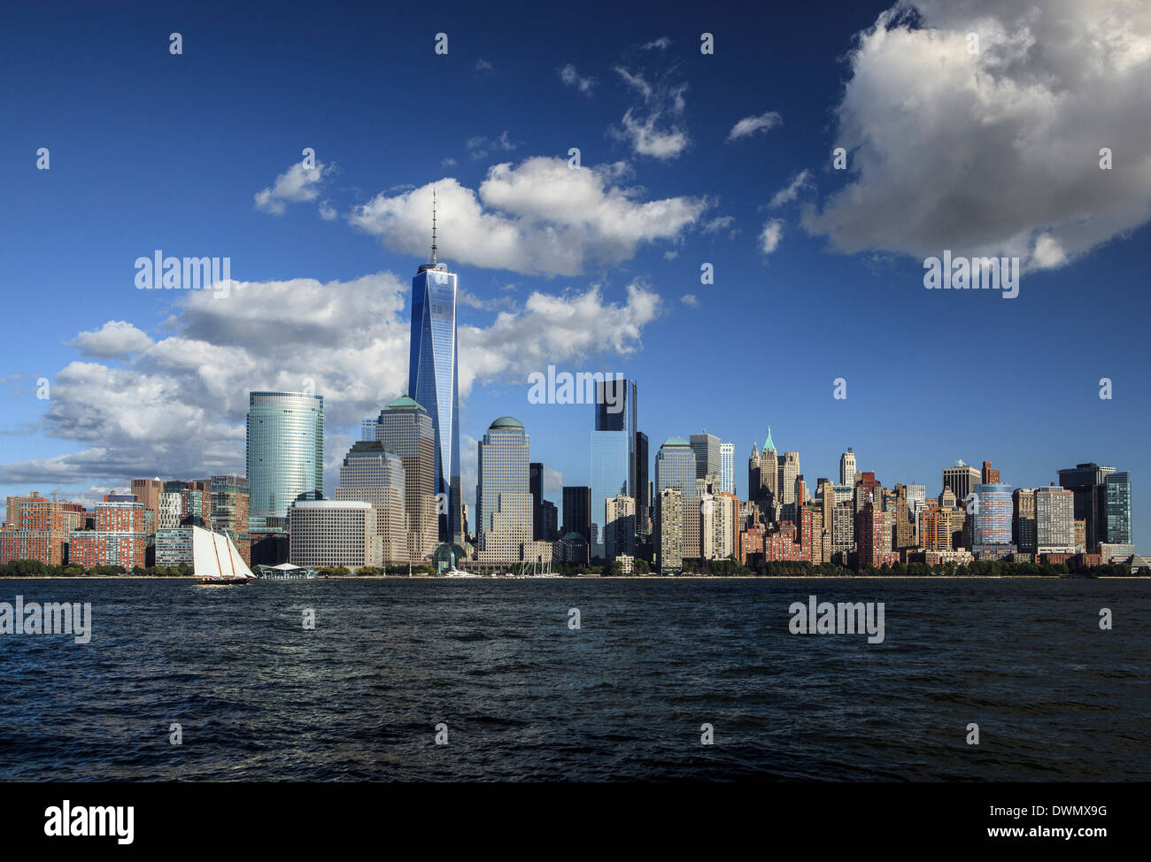Manhattan financial district skyline as seen from Jersey City, New York, United States of America, North America - Stock Image